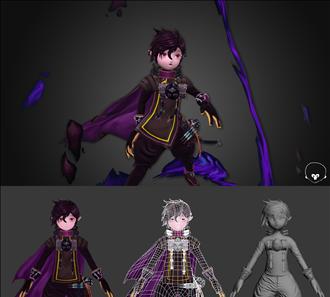 손맵,노멀맵 던파 남법사 캐릭터 3d 모델링
