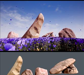 바위와 파란 꽃이 있는 들판 습작