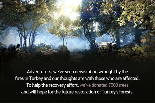 펄어비스, 산불피해 터키에 묘목 7000그루 전달